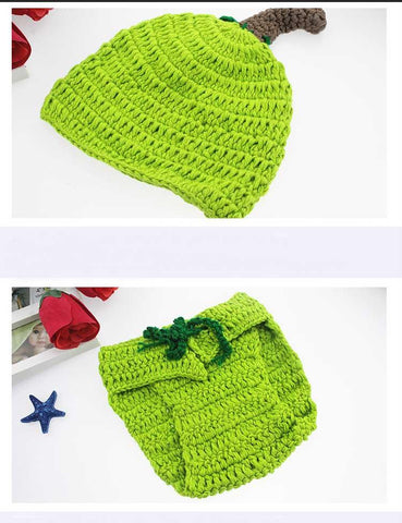 Hand Knitted Cotton Vegetables Suit Newborn Photo Prop