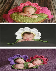Hand Knitted Petal Cotton Newborn Hats Photo Prop