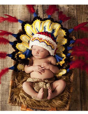 Hand Knitted Tribal Chief Suit Newborn Photo Prop