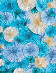 Hand Made Blue Yellow Pinwheel For Wedding Photography Backdrop  J-0028
