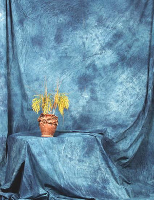 Hand Painted Abstract Steel Blue Muslin Backdrop For Studio Photo
