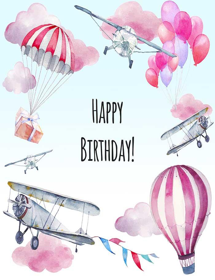Hand Painted Airplane Hot Air Balloon For Birthday Photography Backdrop J-0015
