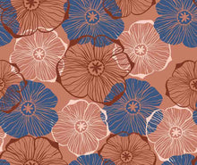 Hand Painted Blue Orange Flower Photography Backdrop J-0111