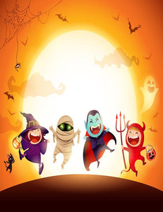 Hand Painted Cartoons For Halloween Photography Backdrop J-0136