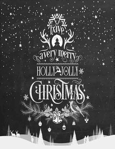 Hand Painted Chalkboard Christmas For Holiday Photography Backdorp J-0011