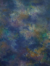 Hand Painted Dark Blue Yellow Abstract Old Master Muslin Backdrop For Studio Photo