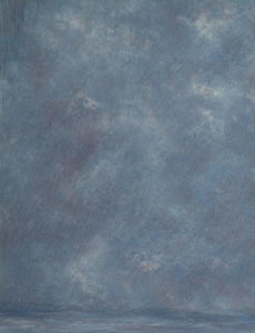 Hand Painted Dark Pale Blue Muslin Backdrop For Studio Photography