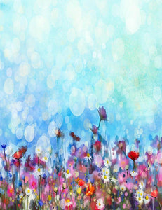 Hand Painted Floral With Bokeh Green Blue Sky Photography Backdrop J-0593