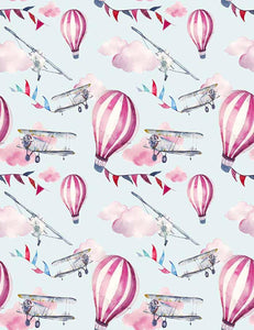 Hand Painted Hot Air Balloon Air Plane For Baby Show Fabric Backdrop Photography J-0036
