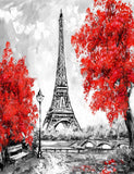 Hand Painted Pairs Tower With Red Maple Photography Backdrop J-0666