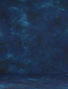 Hand Painted Prussian Blue Abstract Muslin Backdrop For Photography