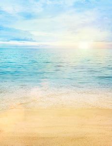 Hand Painted Sandy Beach Sea And Sunrise For Summer Photography Backdrop J-0047