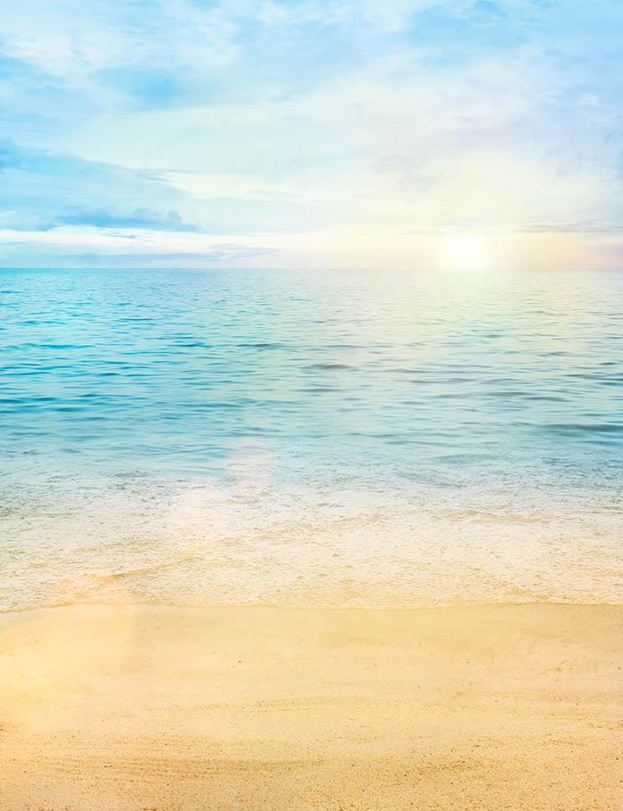hand painted sandy beach sea and sunrise for summer photo backdrop