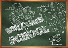 Hand Painted Welcome To School On Green Chalkboard Photography Backdrop J-0704