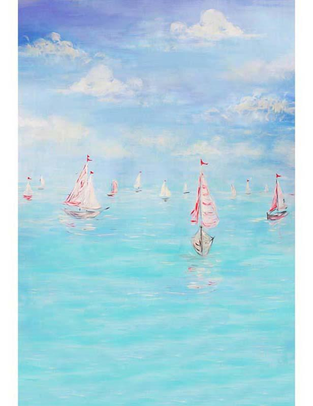 Hand Paintted Sea Boat Backdrop For Children Photography S-1200