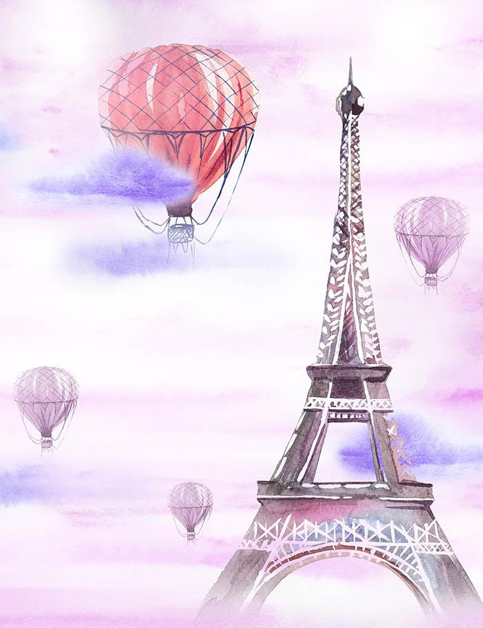 Hand Pinted Hot Air Balloon And Eifel Tower Fabric Backdrop For Photography J-0031