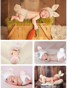 Handmade Knitted Rabbit Set Newborn Photography Backdrop