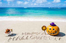Happy Halloween Writed On Beach With Pumpkin For Holiday Backdrop