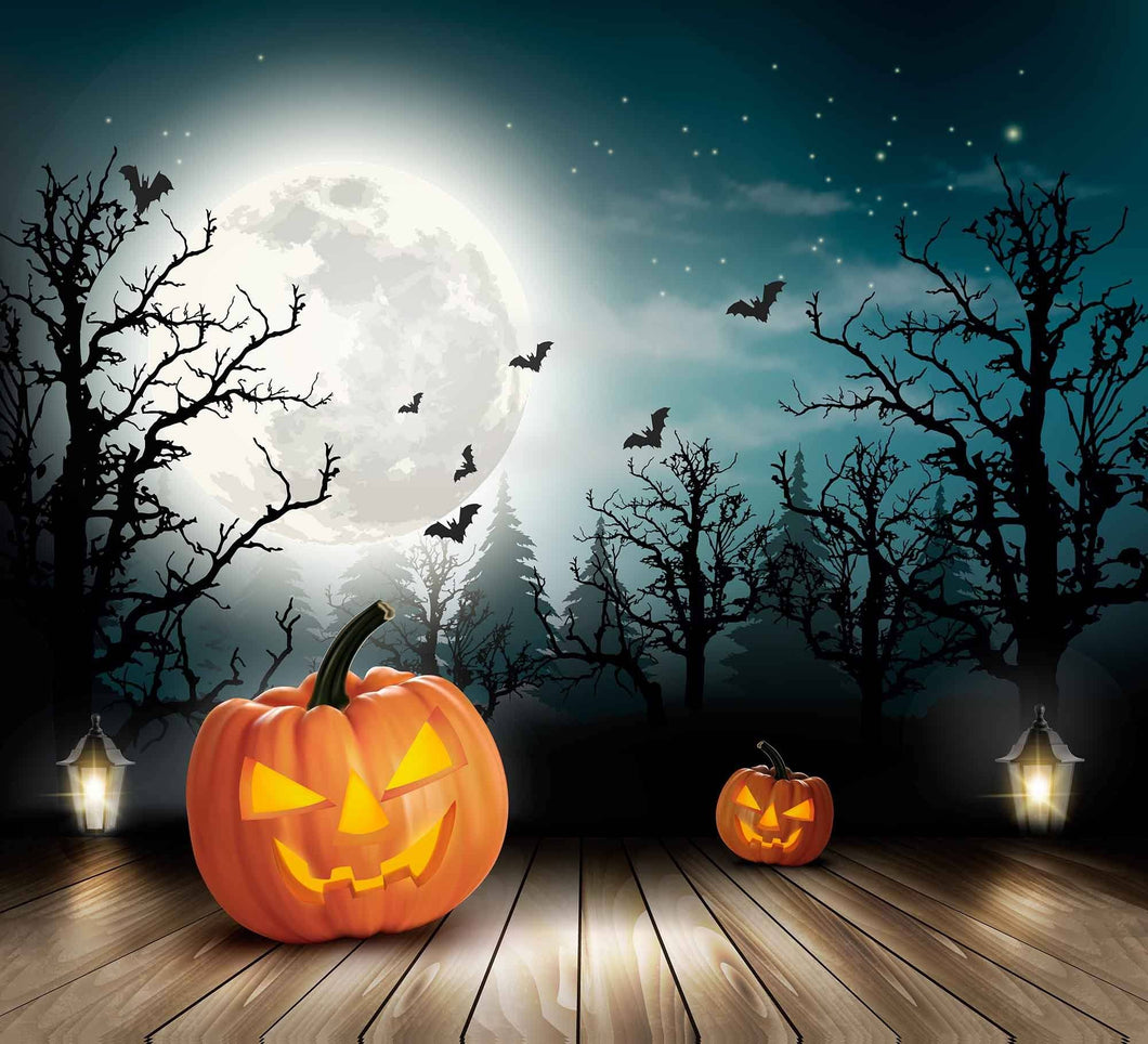 Horror Forest Background With Some Pumpkin On Wood Floor Photography Backdrops - Shop Backdrop