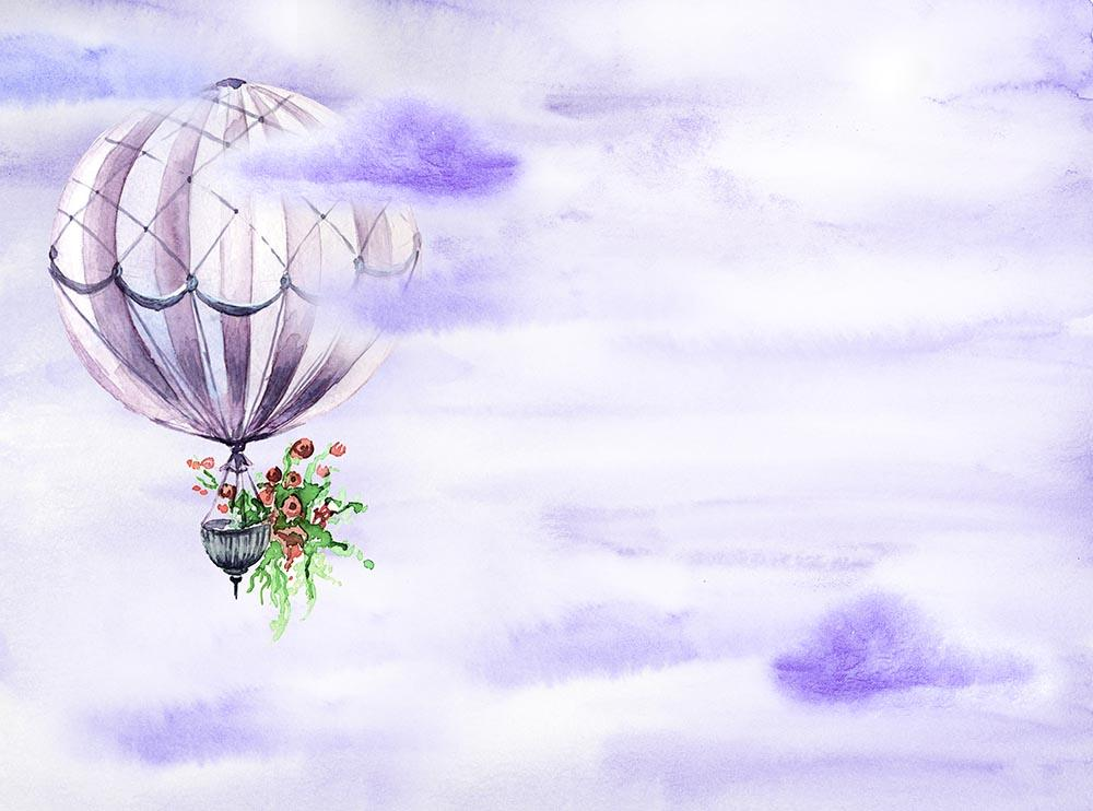 Hot Air Balloon Fly In Purple Sky Photography Fabric Backdrop J-0030-1