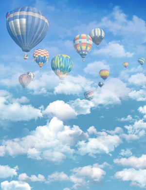 Hot Balloons Fly In Cloudy Sky Backdrop For Baby Photography S-1903