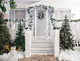 House Entrance Decorated With Christmas Wreath Tree For Photography Backdrop J-0199