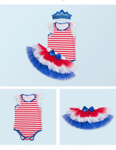 Independence Day Wings Sleeveless Cotton Romper Six-Stage Skirt Photo Prop
