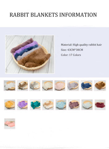 Newborn Photography Rabbit Blankets Props Multi-color Optional X-0012