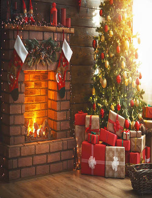 Interior Classic Christmas Tree Fireplace Photography Backdrop J-0811