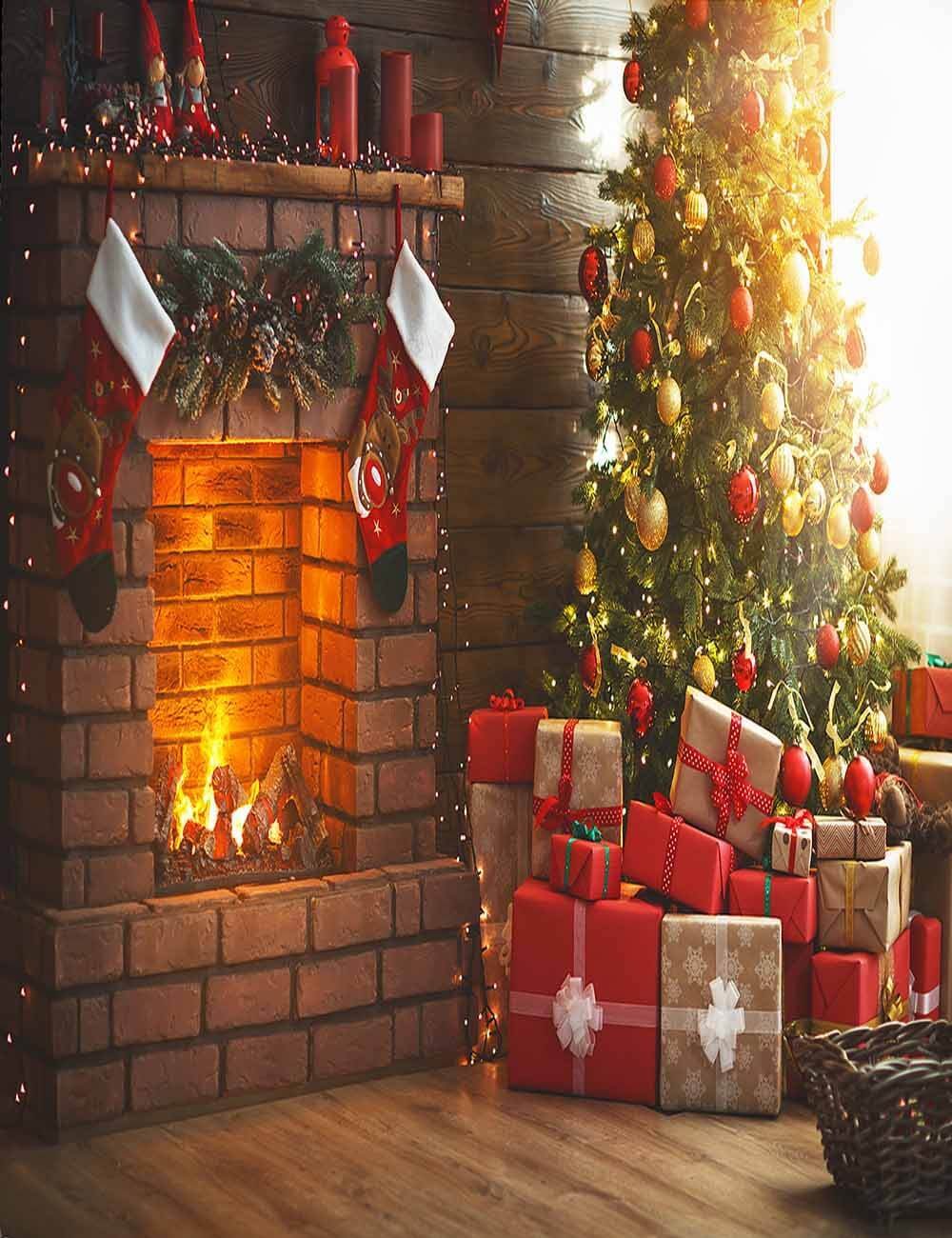 Interior Classic Christmas Tree Fireplace Photography Backdrop J