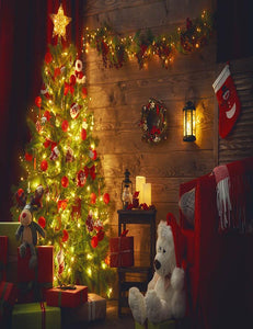 Interior Decorated Christmas Tree With Wood Wall Photography Backdrop N-0015