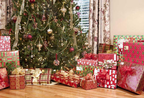 Interior Decorated Christmas With Many Gifts Photography Backdrop N-0004
