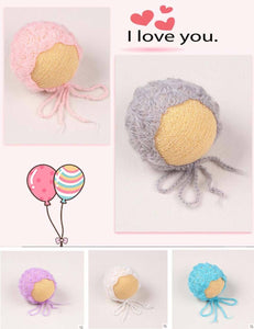 Knit Soft Mohair Hats Newborn Photo Props Multi-color Optional
