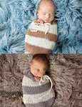 Knitted Stripe Gray And White Sleeping Bag Photo Props