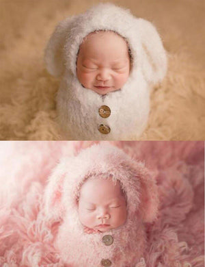 Knitted White Plush Dog Set Newborn Photography Props