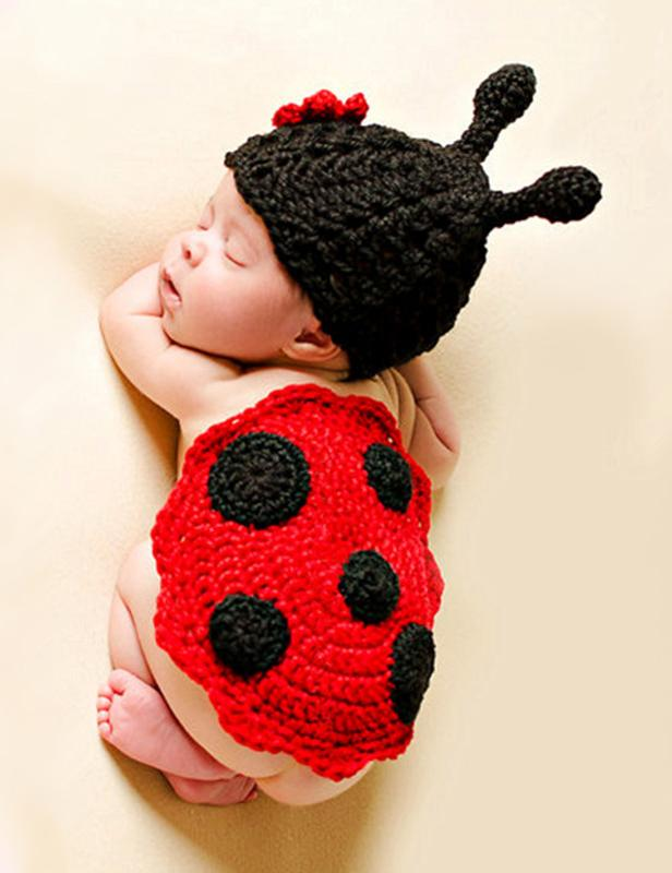 Ladybird Wool Knitting Baby Photography Props Set - Shop Backdrop