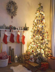 Lighting Xmas Tree Christmas Indoor With Red Socks For Holiday Photography J-0066