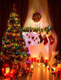 Lighting Xmas Tree Christmas Room For Holiday Photography Backdrop J-0035
