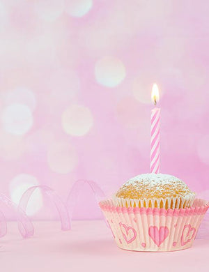 Little Cake On Pink Floor With Pink Bokeh Background For Baby Photo Backdrop