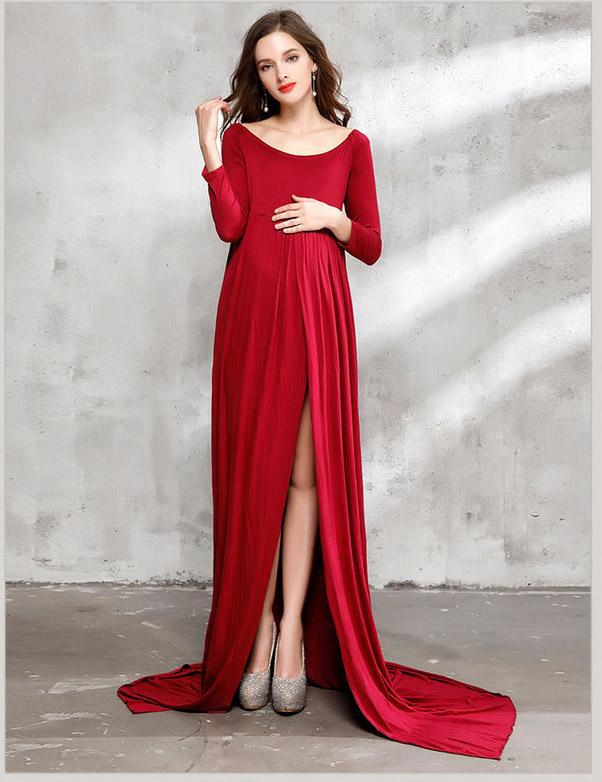 Long Sleeved Cotton Maternity Gown Dress Photo Prop(Multi-color Optional)