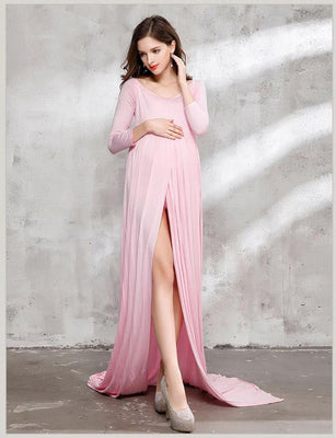 f716a5d7c93 Long Sleeved Cotton Maternity Gown Dress Photo Prop(Multi-color Optional)  ...
