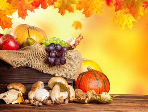 Maple Leaf Pumpkin Grape And Mushrooms On Floor For Halloween Backdrop-a