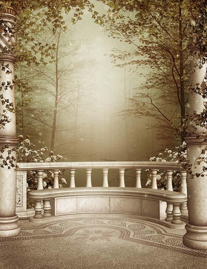 Marble Patio With Columns And Autumn Vines Photography Backdrop  J-0448