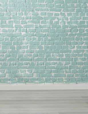 Medium Turquoise Brick Wall With Wood Floor Backdrop-1