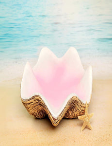 Mermaid Clam Shell Prop On Ocean Beach For Children Photography Backdrop J-0371