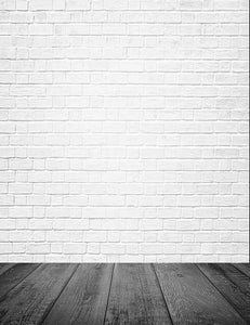 Milk White Brick Wall Texture With Old Wood Floor Photography Backdrop J-0227