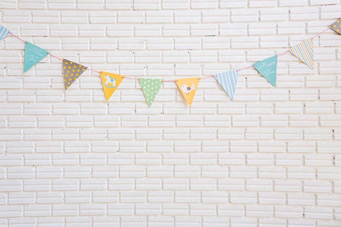 Milk White Brick Wall With Party Flag Photography Backdrop