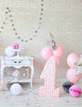 Milk White Brick Wall With Pink Balloons On Wood Floor For Baby 1 Birthday Backdrop