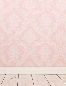 Milk White Damask Printed On Pink Wall With Wood Floor Backdrop For Photo