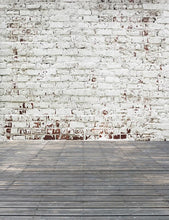 Milk White Patterns Brick Wall With Senior Wood Floor Backdrop For Photography  S-2612